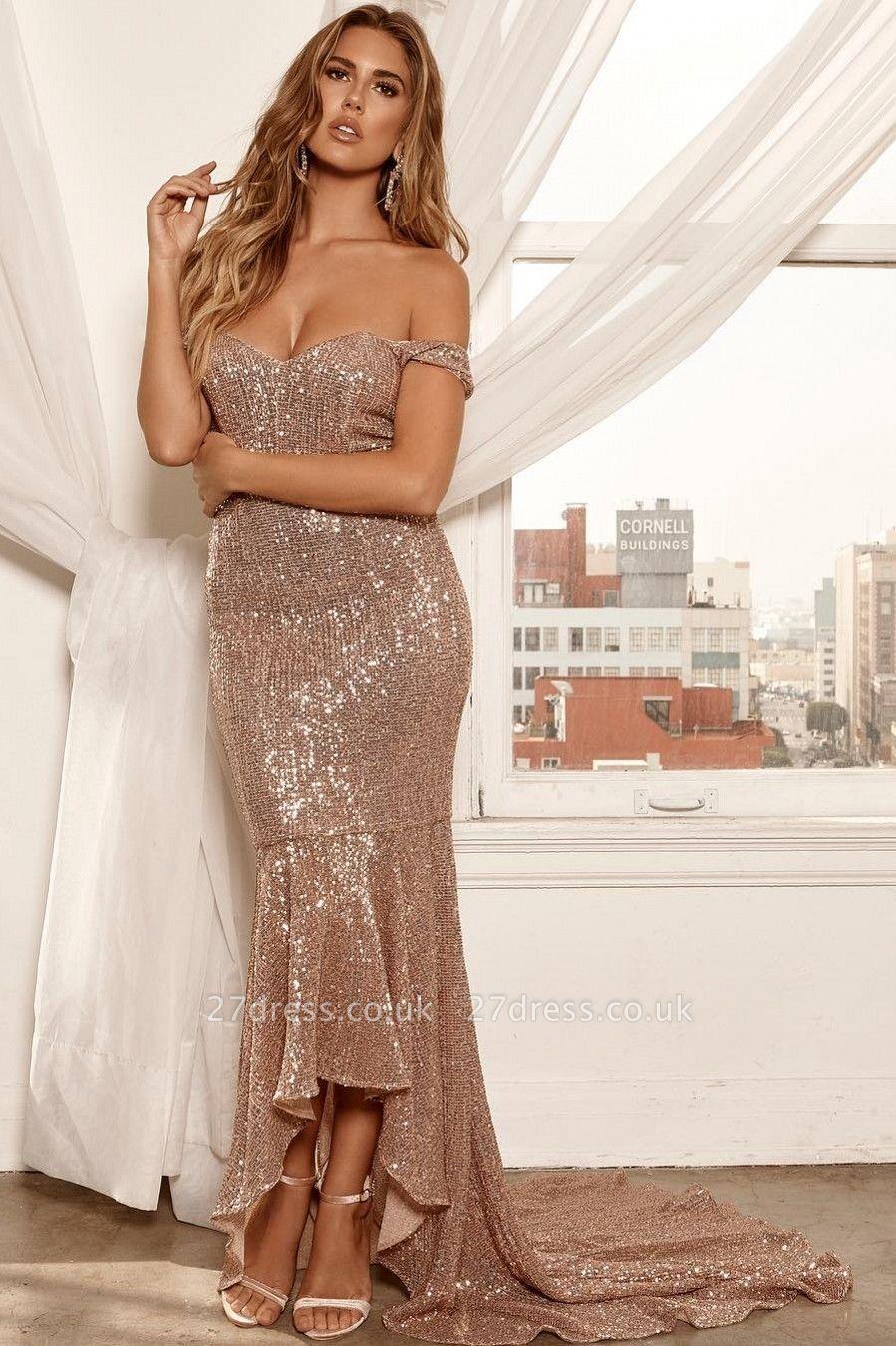 Elegant Hot Off-the-Shoulder Sleeveless Column High Low Prom Dress UK UK