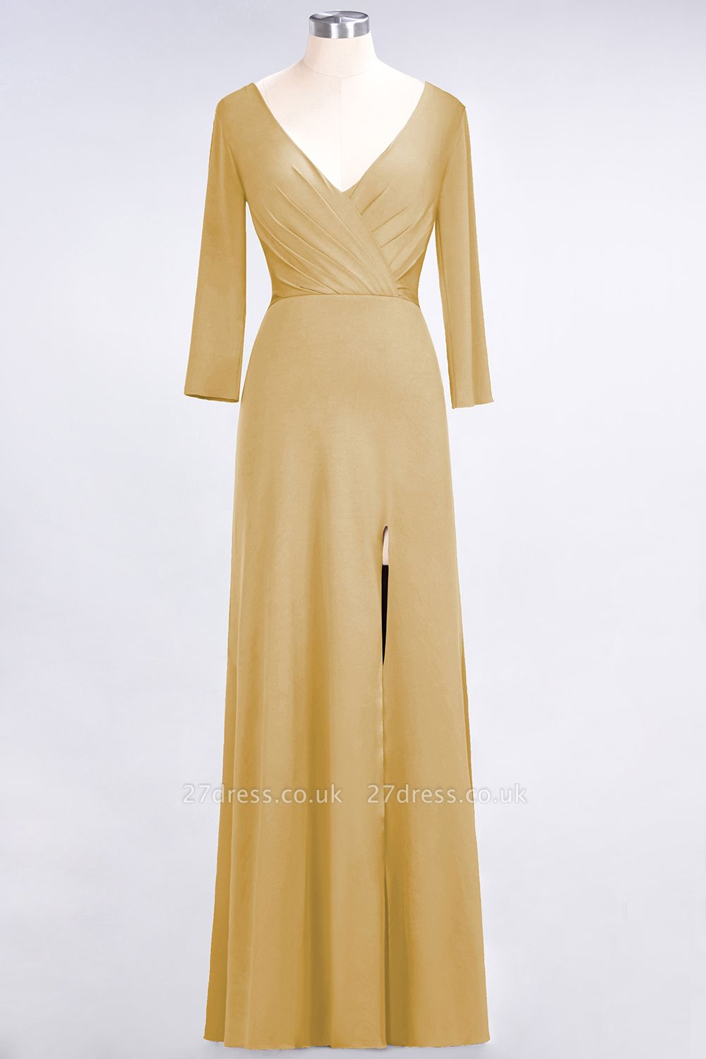 Sexy A-line Spandex Alluring V-neck Long-Sleeves Side-Slit Floor-Length Bridesmaid Dress UK UK with Ruffles