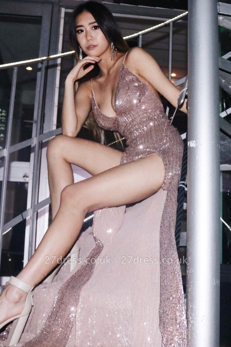 Elegant Hot V-Neck Spaghetti Straps Column Front Split Prom Dress UK UK