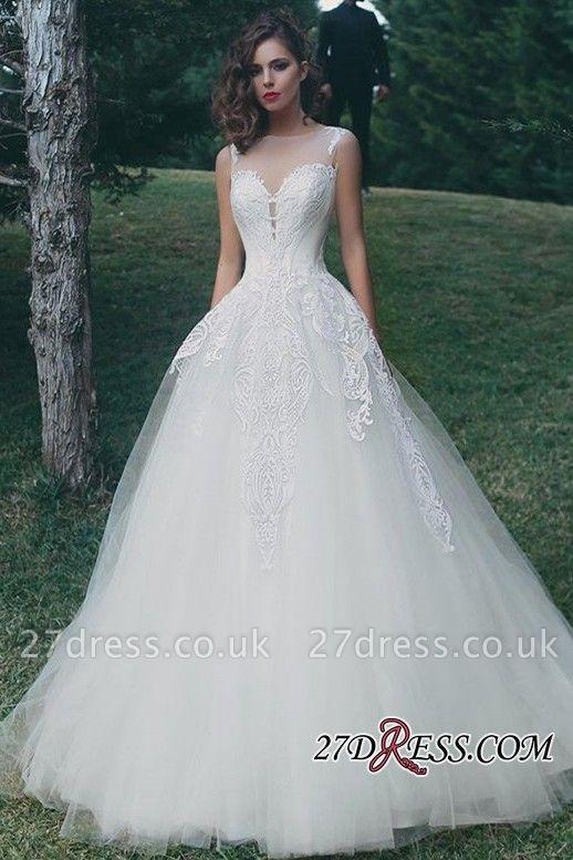 A-Line Tulle Sleeveless Appliques Elegant Wedding Dress