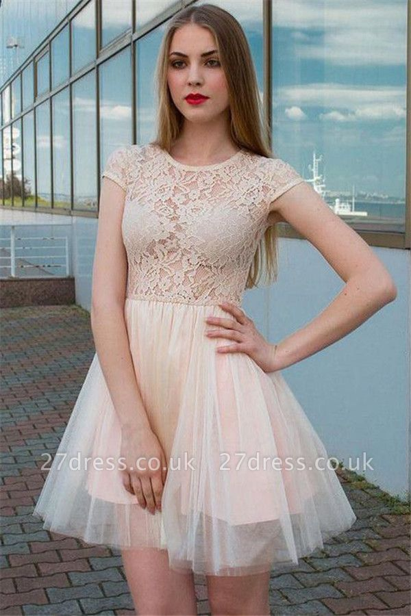 See Through Lace Champagne Tulle Lovely Sleeveless Short Evening Dresses