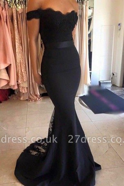 Luxury Black Lace Mermaid Prom Dress UKes UK Off-the-Shoulder Sweep Train SD034