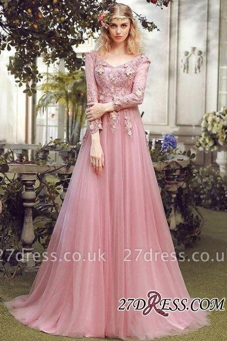 Long Sleeve Pink Evening Tulle   Prom Dress UK With Lace Appliques