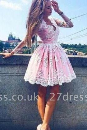 Long-Sleeves Lace Pink Short Deep-V-Neck Homecoming Dress UKes UK
