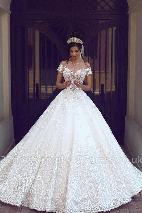 Chic Off-the-shoulder Short Sleeve Wedding Dress Lace On Sale