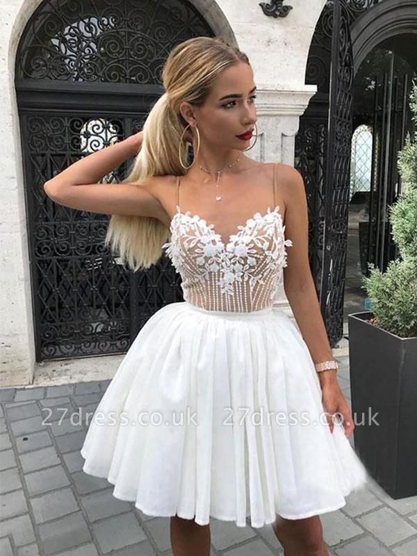 Sexy White Chiffon Spaghetti-Straps Appliques Mini Homecoming Dress