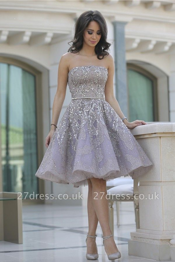Luxury Strapless Sequins Appliques Short Homecoming Dress UK MH