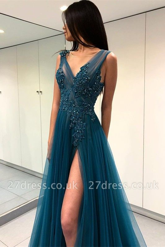Luxury Scoop Long Evening Dress UK | 2019 Forml Dress UK With Slit On Sale