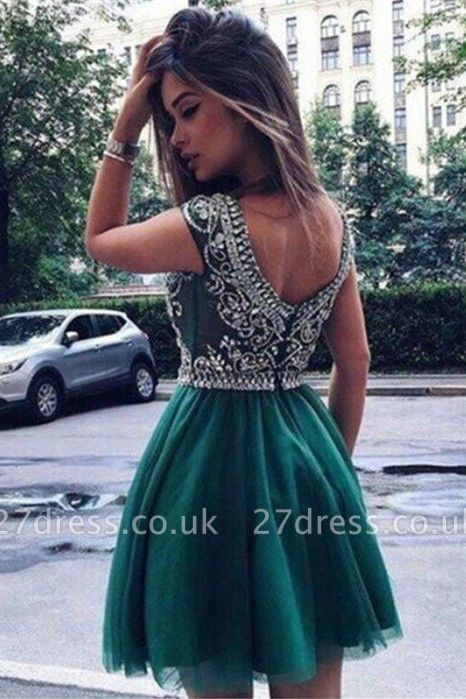Sexy Short Sleeve Homecoming Dress UK | Crystal Short Prom Dress UK