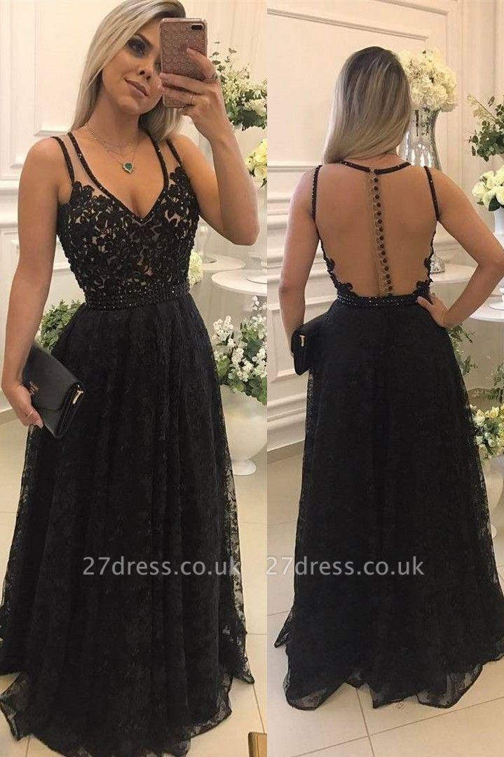 Sexy V-Neck Sleeveless Evening Dress UK   2019 Lace Long Formal Dress UKes UK