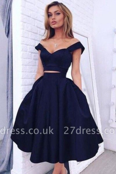 Luxury Two pieces Off-the-shoulder Prom Dress UK Short Homecoming Dress UK BA3609