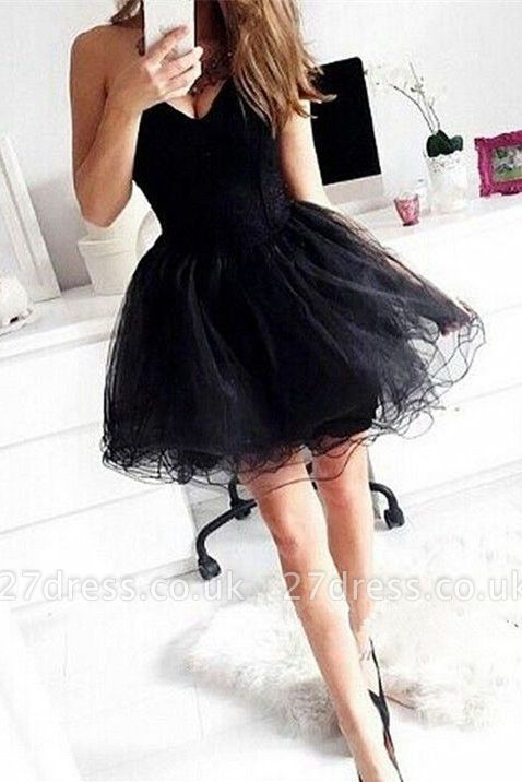 Sexy Sweetheart Little Black Dress UK Short Tulle Homecoming Dress UK