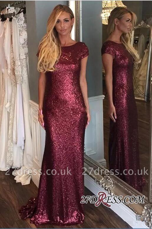 Short-Sleeve Zipper Sequins Sweep-Train Stunning Evening Dress UK