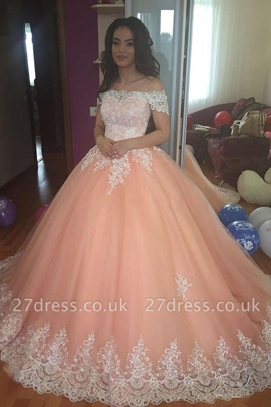 Timeless Off-the-Shoulder Appliques Ball Gown Tulle Sweep Train Prom Dress UKes UK UK