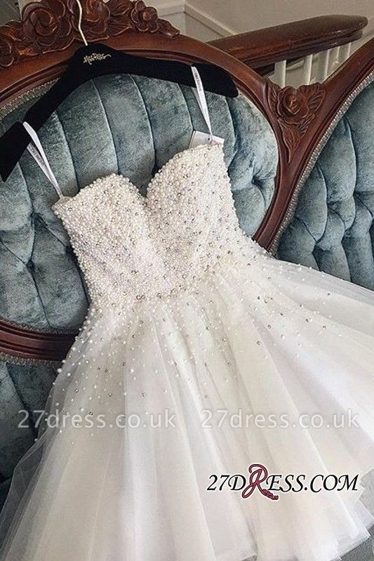 Knee-length Cute White Tulle Pearls Homecoming Dress UK BA9389