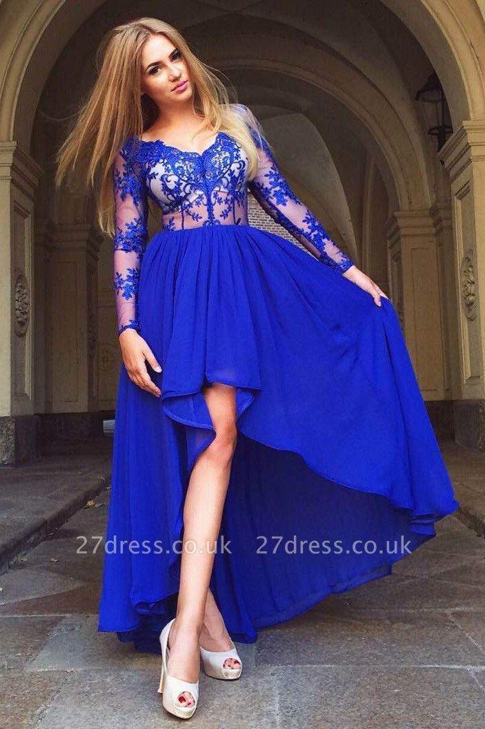 Delicate Royal Blue Long Sleeve A-line Homecoming Dress UK   Hi-Lo Party Gown