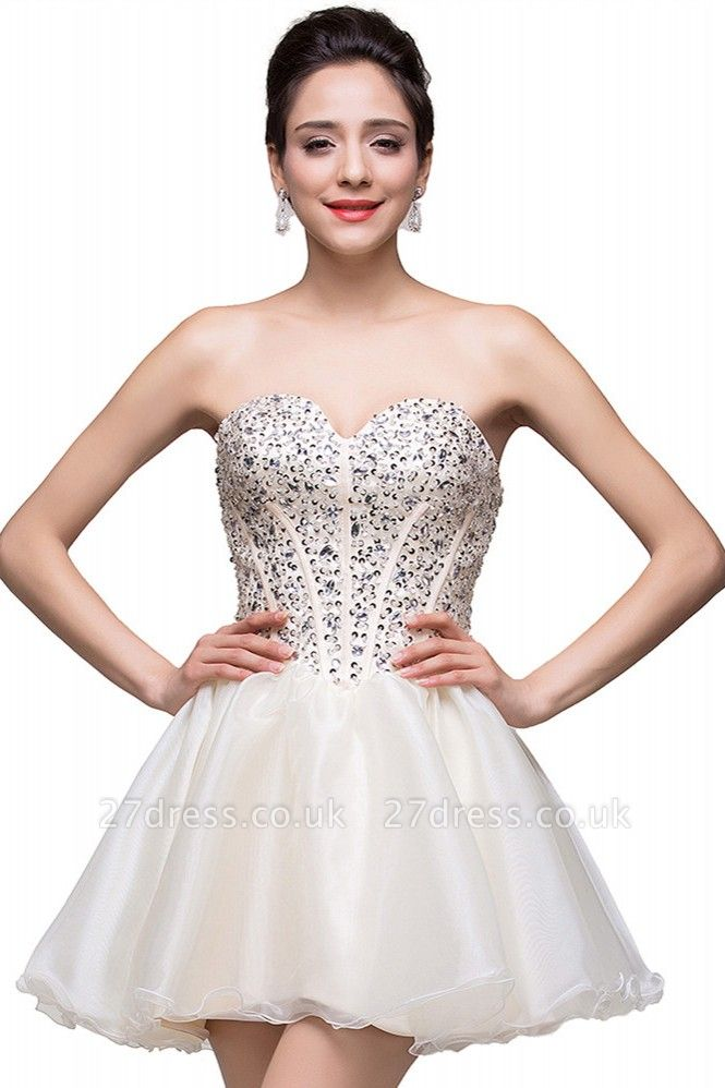 Gorgeous Sweetheart Crystal Short Homecoming Dress UK Tulle