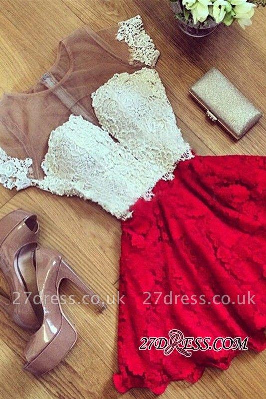 Cute Lace Short Illusion Short-Sleeve Homecoming Dress UK