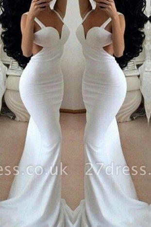 Modern White Mermaid Prom Dress UKes UK Backless Sleeveless