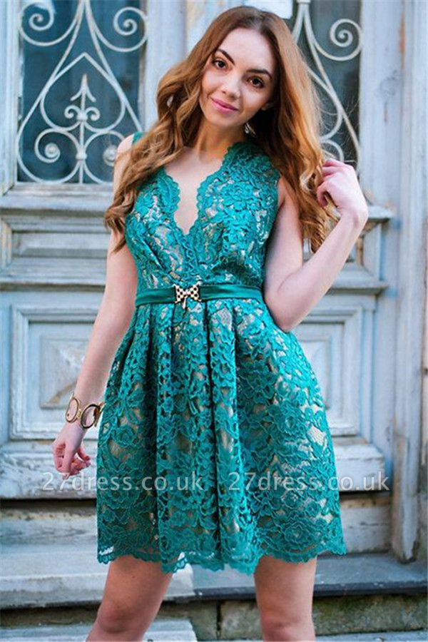 Chic Green Lace Mini Party Dresses | Sleeveless V-Neck Short Evening Dress