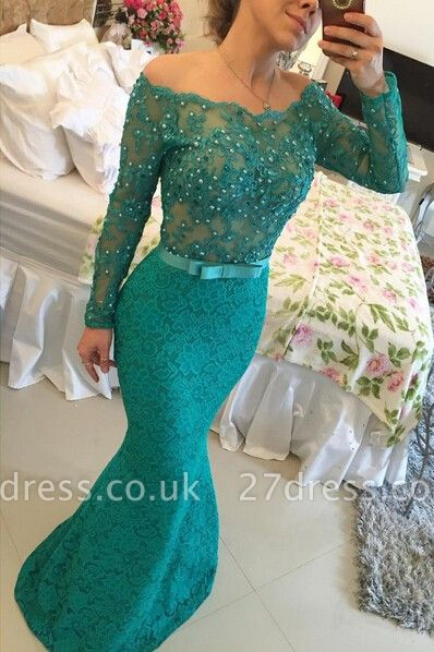 Modern Long Sleeve Lace Mermaid Prom Dress UK Pearls Off-the-shoulder BA2588 BT0