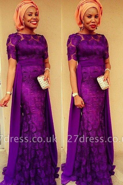 Luxury Purple Short Sleeve Evening Dress UK Floor Length