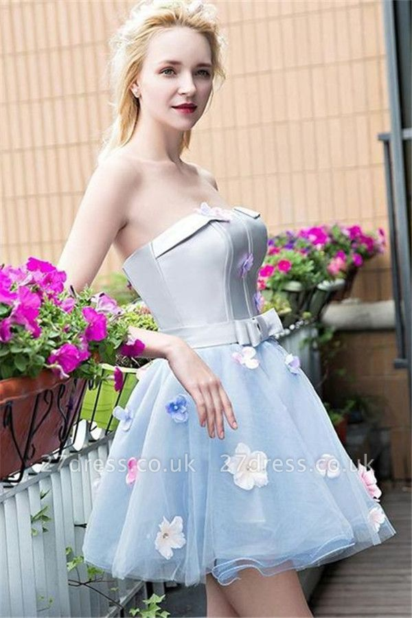 Flowers Strapless Cute Baby Blue Cheap Short Party Dresses Online