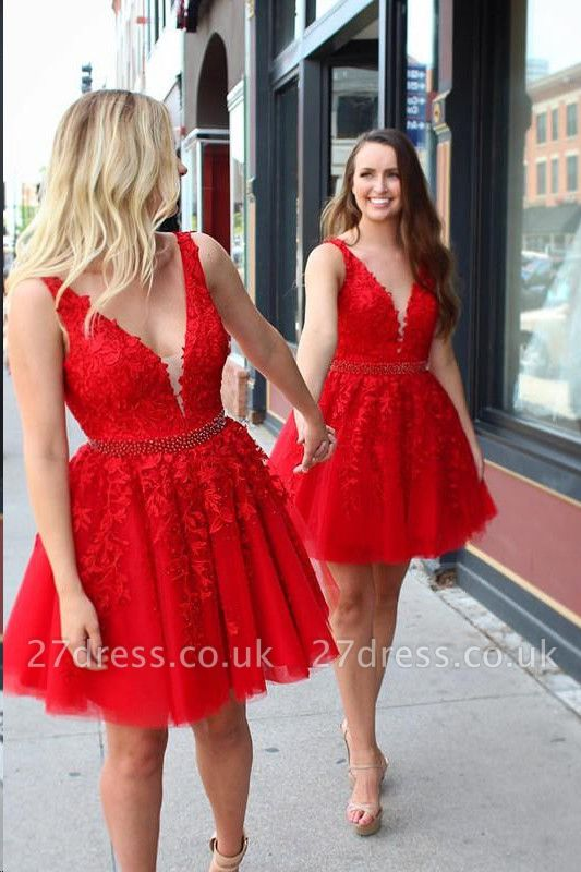 Chic Straps Beading Sash Homecoming Dress