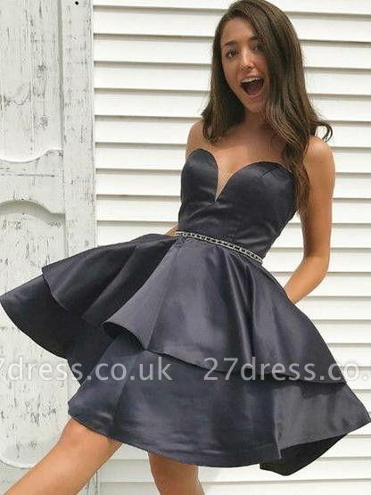 Strapless V-Neck Beading Homecoming Dress