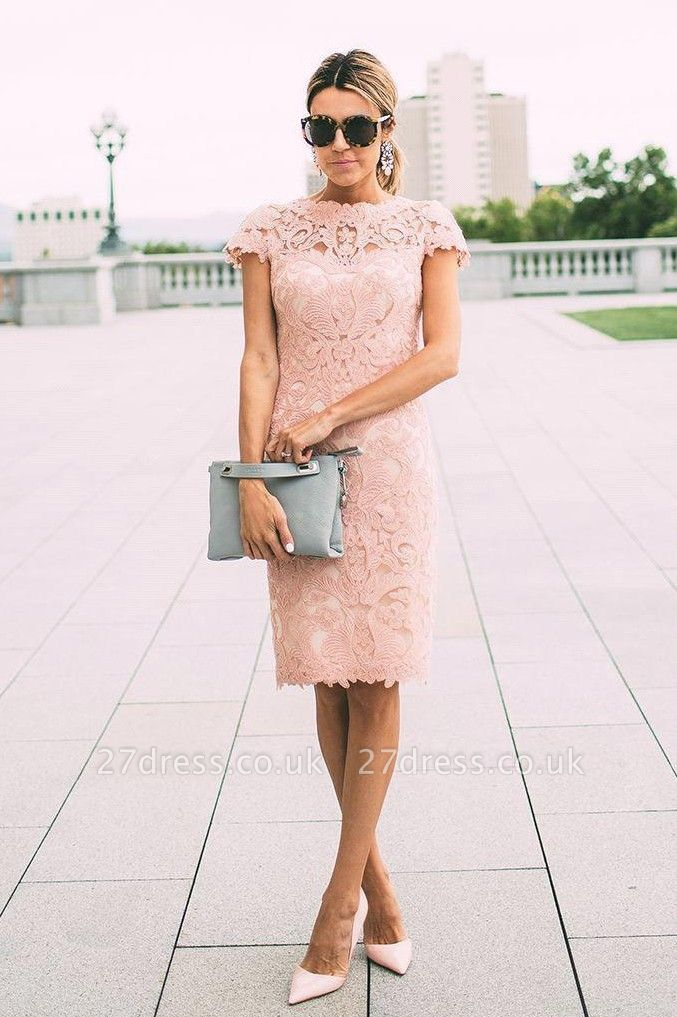 Modest Lace Mini Short Homecoming Dress UK Sleeve Knee-length