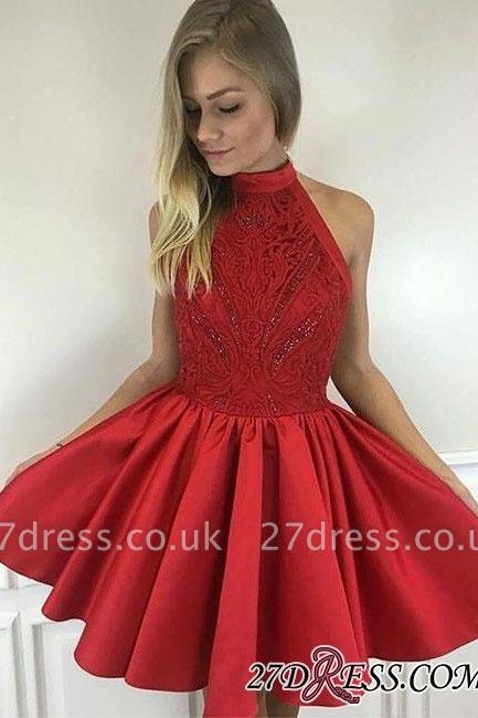 Cute A-line Short Red Beading High-neck Cocktail Dress UK