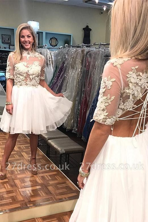 New Arrival A-Line Appliques High Neck Lace Short Sleeves Short  Homecoming Dress UK