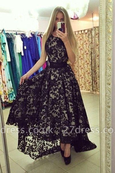 Modern Jewel Sleeveless Lace Prom Dress UK Sweep Train