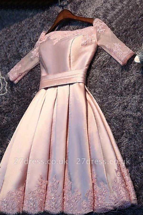 A-Line Pink Half-Sleeves Newest Short Off-the-Shoulder Homecoming Dress UK BA6866