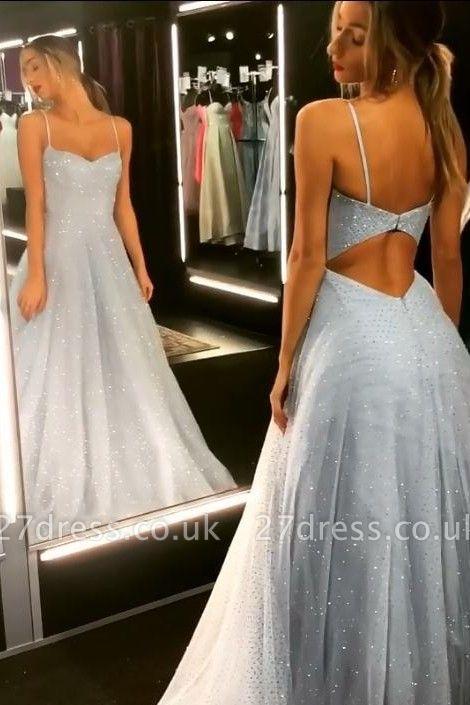 Sparkly Backless Dress UK Tulle Floor Length Prom Dress UKes UK UK | Sexy Long Evening Dress UKes UK on Sale