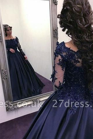 Navy Long Slaeeves Prom Dress UK | Ball-Gown Evening Gowns On Sale