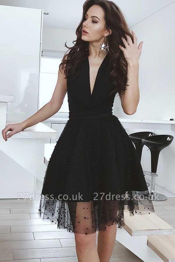 Black Tulle Deep-V-Neck Sleeveless Homecoming Dress