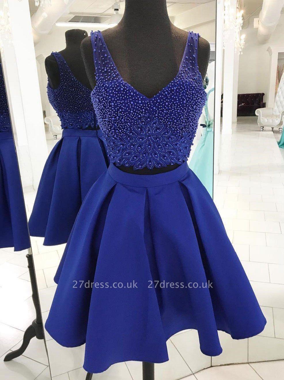 Two Piece Homecoming Dresses | Straps Beading Sleeveless Short Evening Dress