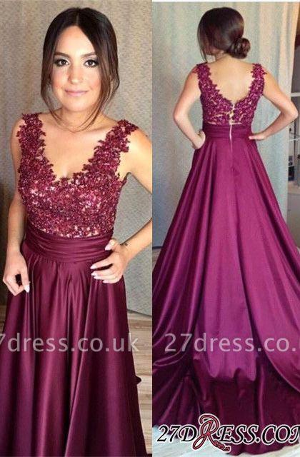 Sleeveless Appliques Zipper Luxury Lace Prom Dress UK BA7351