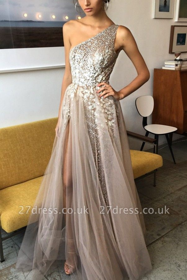 Sexy One Shoulder Tulle Prom Dress UK Sequins With Split BA7859