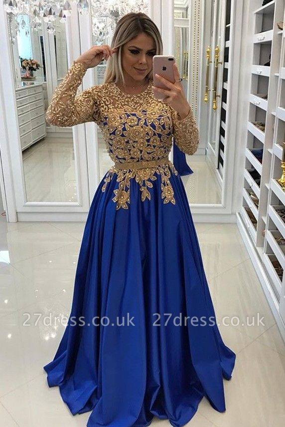 Modern Royal Blue & Gold Lace Evening Dress UK   Long Sleeve Party Gown