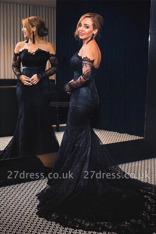 Elegant Black Mermaid Lace Evening Dress UK Long Sleeve Mermaid Party Dress UK Button Zipper Back BA7626
