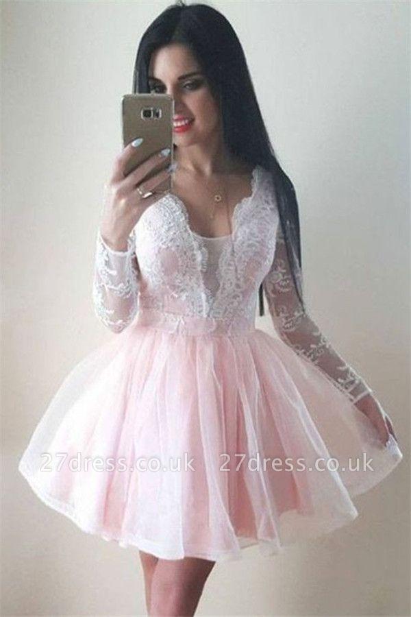 Long Sleeve Puffy Tulle Lace Formal Dresses | V-Neck Short Evening Dress UK