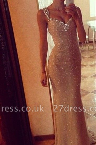 Sequins Elegant Mermaid Prom Dress UK with Crystals Straps