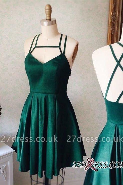 Sleeveless Mini Spaghetti-Strap Newest Green Homecoming Dress UK