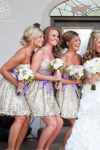 Gorgeous Sleeveless Short Bridesmaid Dress UK Sweetheart Bowknot Sequins