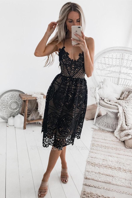 Elegant Black 2019 Short Homecoming Dress UK   Lace Spaghetti-Straps Party Dress UK