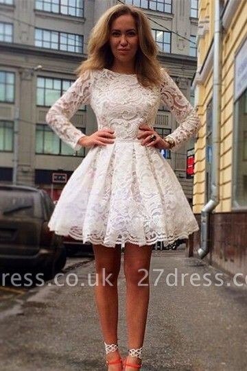 Sexy Long Sleeve Short Homecoming Dress UK With Lace