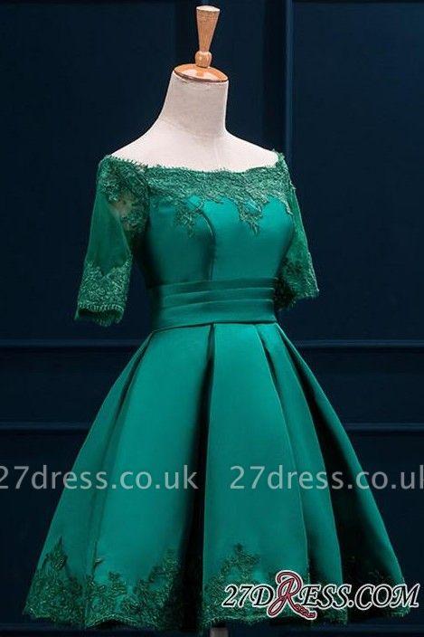 Lace Green Short Appliques Charming Half-Sleeve Homecoming Dress UK BA3856