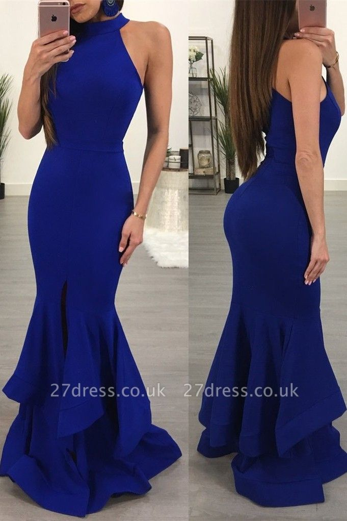 Elegant Halter Mermaid Prom Dress UK | Sleeveless Summer Prom Dress UK